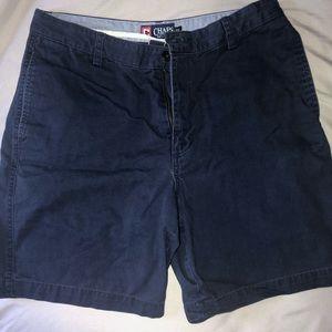 Men's Navy Chaps Flat Front Shorts. Size 34